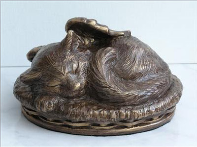 Bronze Urn - Cat Image